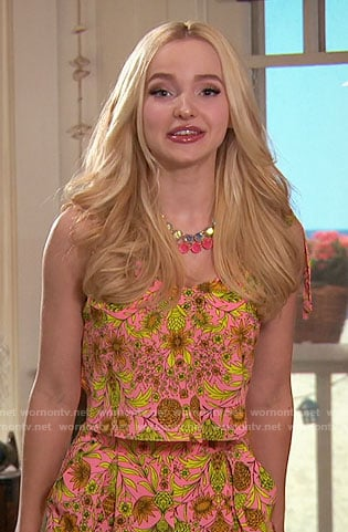 Liv's pink and yellow floral romper on Liv and Maddie