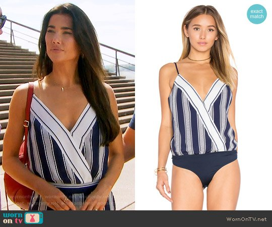 Lovers + Friends Vision Stripe Bodysuit worn by Steffy Forrester (Jacqueline MacInnes Wood) on The Bold & the Beautiful