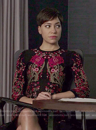 Lucca's black and pink floral dress on The Good Fight