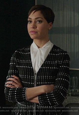 Lucca's black and white peplum jacket on The Good Fight
