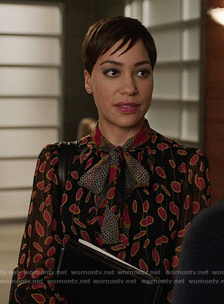 Lucca's mixed print blouse on The Good Fight