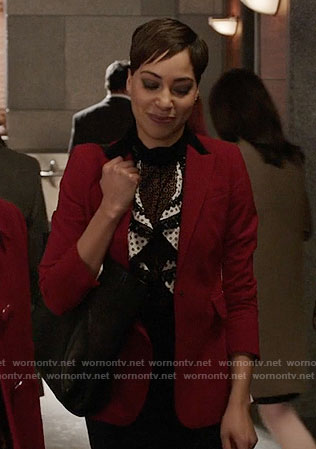 Lucca's ruffled lace-trim top and red colorblock blazer on The Good Fight