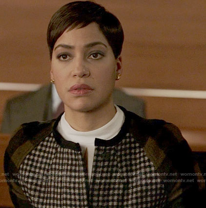 Lucca's gingham checked jacket on The Good Fight