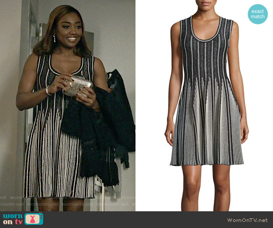 M Missoni Striped Sleeveless Fit-&-Flare Dress worn by Patina Miller on Madam Secretary