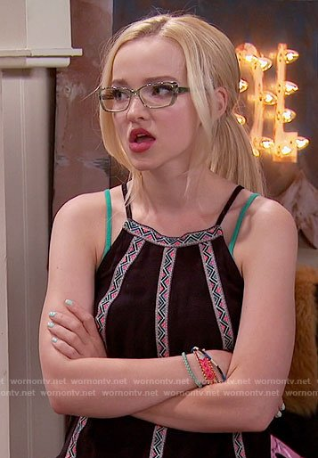 Maddie's black embroidered top with tassels on Liv and Maddie