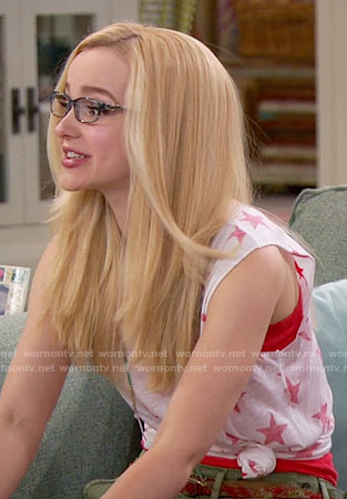 Maddie's red star print tank top on Liv and Maddie