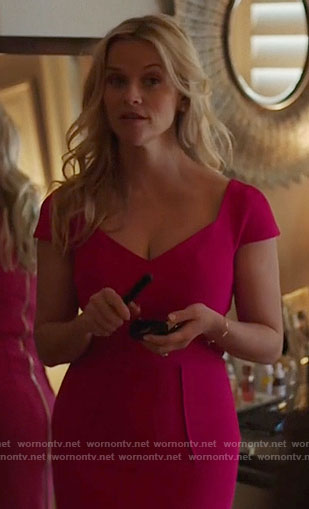 Madeline's pink cap sleeve sheath dress on Big Little Lies