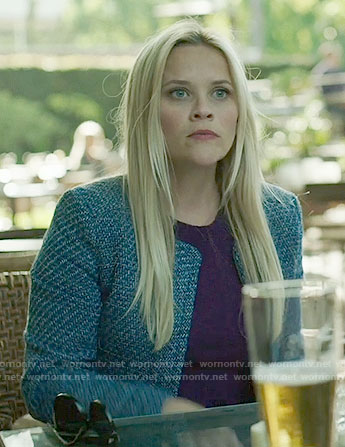 Madeline's blue tweed jacket on Big Little Lies