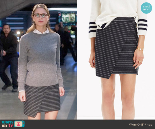 Madewell Asymmetrical Mini Skirt in Pinstripe worn by Melissa Benoist on Supergirl