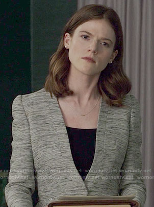Maia's grey peplum jacket on The Good Fight