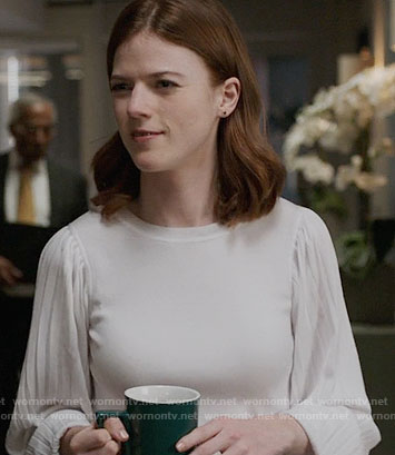 Maia's white sweater with pleated sleeves on The Good Fight