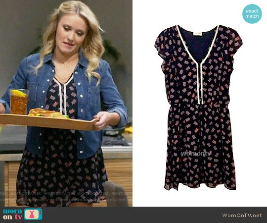 Maison Jules Flutter Sleeve Dress in Turtles worn by Emily Osment on Young & Hungry