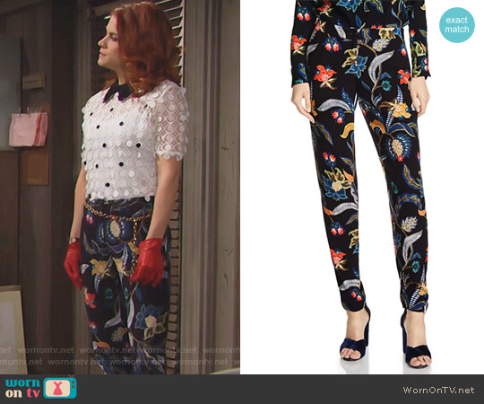Maje Papaye Printed Pants worn by Sally Spectra on The Bold & the Beautiful