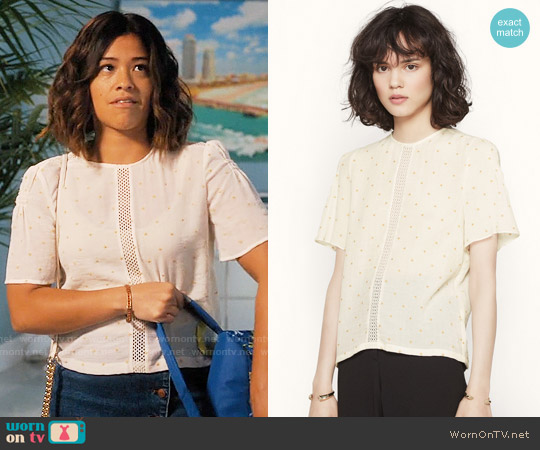 Maje Lione Top worn by Gina Rodriguez on Jane the Virgin