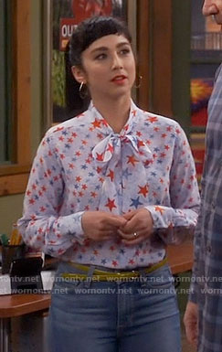 Mandy's blue and red star print blouse on Last Man Standing