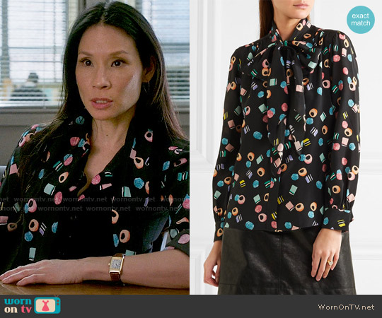 Marc Jacobs Licorice Candy Print Blouse worn by Lucy Liu on Elementary