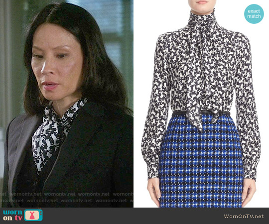 Marc Jacobs Tie Neck Poodle Print Blouse worn by Lucy Liu on Elementary