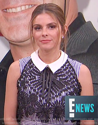 Maria's blue striped dress with black lace overlay on E! News