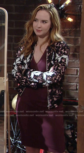 Mariah's black and white lace bomber jacket on The Young and the Restless