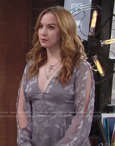 Mariah's grey wrap dress with split sleeves on The Young and the Restless
