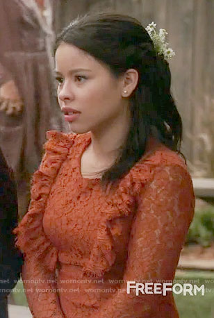 Mariana's orange lace dress on The Fosters