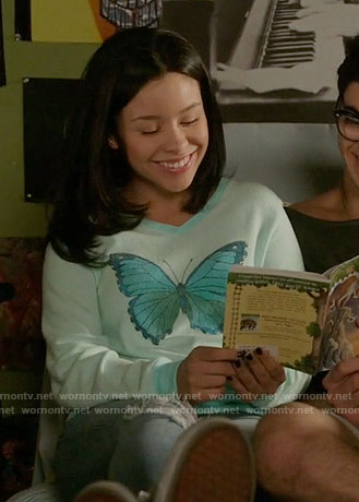 Mariana's mint butterfly print sweatshirt on The Fosters