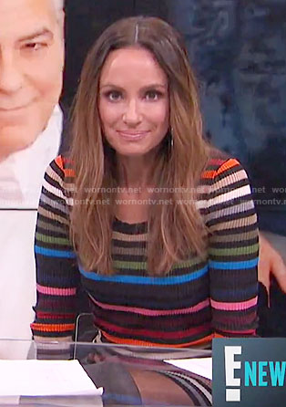 Catt's rainbow striped sweater dress on E! News