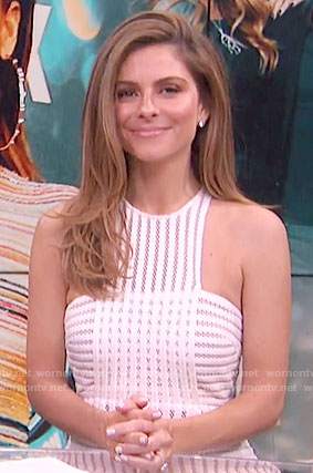 Maria's white mesh striped dress on E! News