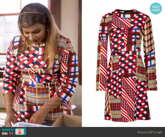 Marni Printed cotton and silk-blend dress worn by Mindy Kaling on The Mindy Project