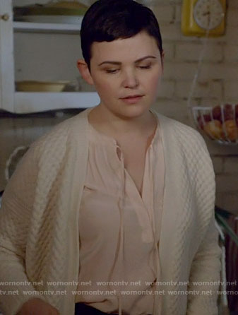 Mary's pink tie neck top on Once Upon a Time