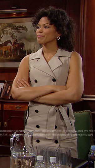 Maya's sleeveless trench dress on The Bold and the Beautiful