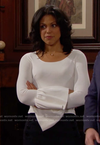 Maya's white bell sleeve top on The Bold and the Beautiful