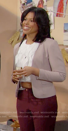 Maya's white ruffled crop top on The Bold and the Beautiful