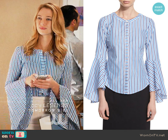Milly Ruthie Bell-Sleeve Striped Stretch-Poplin Blouse worn by Yael Grobglas on Jane the Virgin