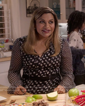 Mindy's black floral and polka dot print dress on The Mindy Project