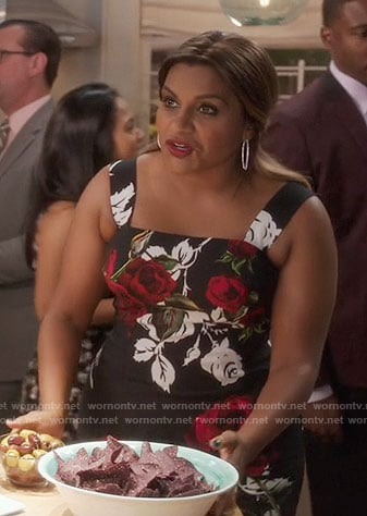 Mindy's black rose print dress on The Mindy Project