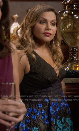 Mindy's black v-neck dress with blue floral embroidery on The Mindy Project