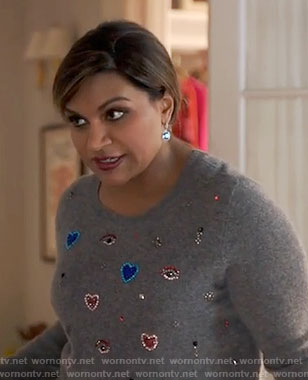 Mindy's grey heart embellished sweater on The Mindy Project