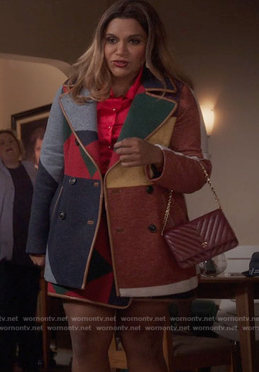 Mindy's patchwork coat and wrap skirt on The Mindy Project
