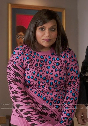 Mindy's pink leopard and houndstooth print sweater on The Mindy Project