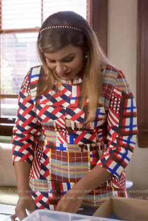 Mindy's plaid patchwork print dress on The Mindy Project