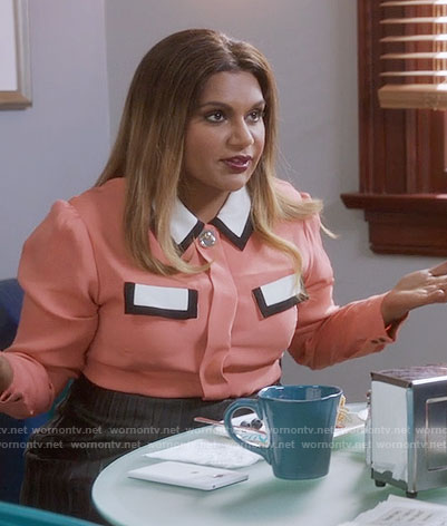 Mindy's salmon pink blouse with white pockets on The Mindy Project