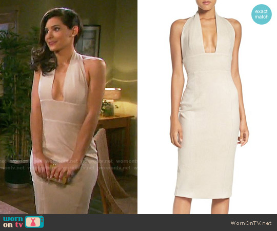 Misha Collection Tanya Faux Suede Halter Midi Dress worn by Camila Banus on Days of our Lives