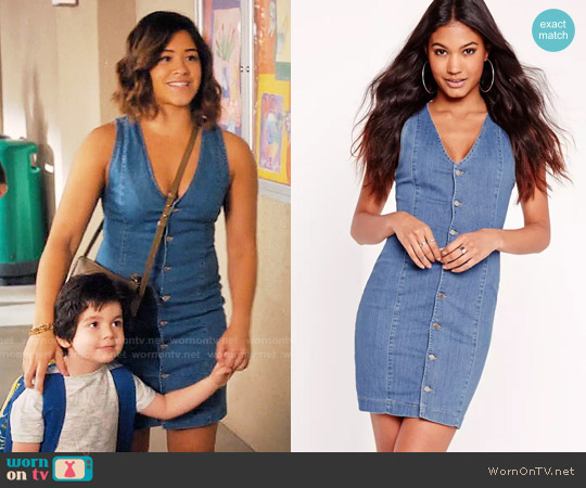 Missguided Plunge Button Up Denim Dress worn by Gina Rodriguez on Jane the Virgin