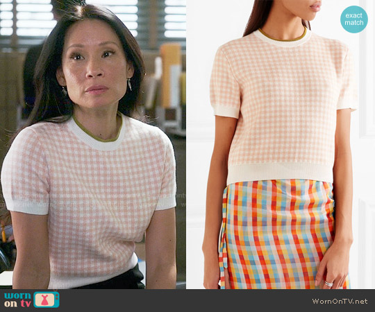Miu Miu Checked Top worn by Joan Watson (Lucy Liu) on Elementary