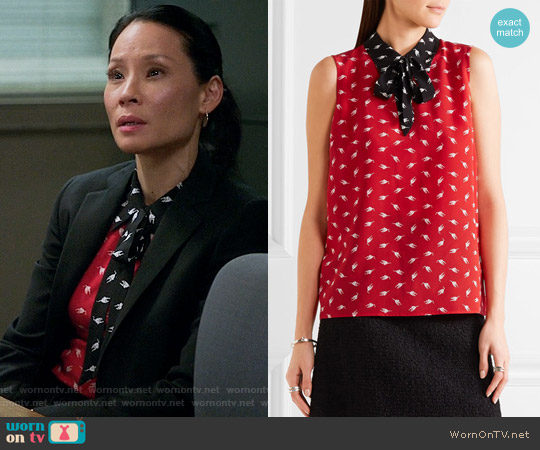 Miu Miu Printed silk crepe de chine top worn by Joan Watson (Lucy Liu) on Elementary