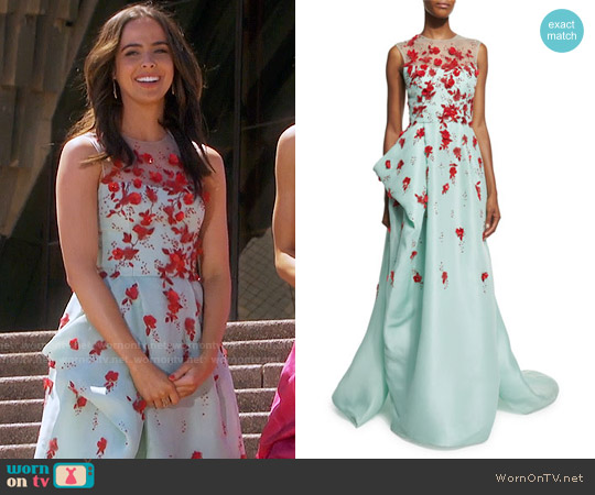 Monique Lhuillier Sleeveless Draped Illusion Gown w/Contrast Floral Appliques worn by Ashleigh Brewer on The Bold & the Beautiful