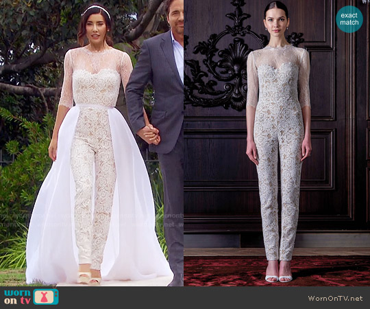Monique Lhuillier Lacey Jumpsuit worn by Jacqueline MacInnes Wood on The Bold & the Beautiful