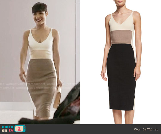 Narciso Rodriguez Sleeveless Colorblock Sheath Dress worn by Anika Calhoun (Grace Gealey) on Empire