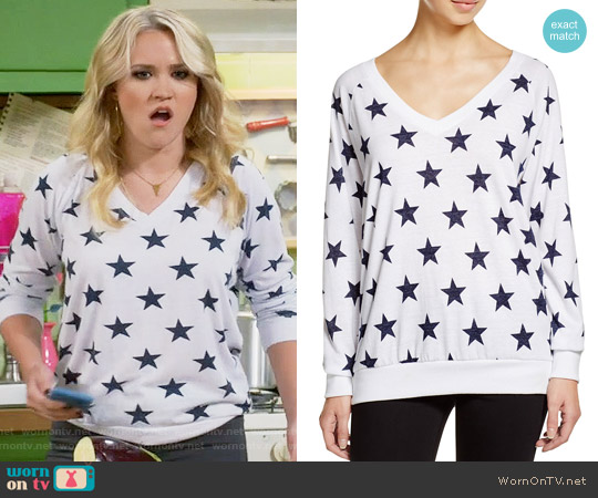 Nation LTD Stars Raglan V-Neck Sweatshirt worn by Emily Osment on Young & Hungry